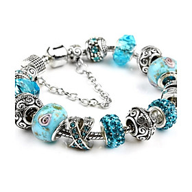 Bracelet Charm Bracelet,Rhinestone Bead Silver Plated Strand Bracelet Chrismas  5 colors Friendship Bracelet Jewelry DIY Jewerly