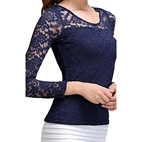 Women's Sexy Round Collar Lace Splicing Long Sleeve Slim Blouse