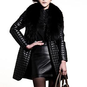 Women's Plus Size / Going out Vintage / Punk  Gothic Fur Coat,Solid V Neck Long Sleeve Winter Black Faux Fur / PU Medium