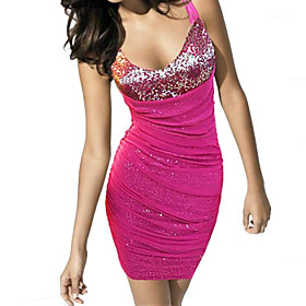 Women's Fashion Sexy V Collar Sequins Hip Package Bodycon Dress