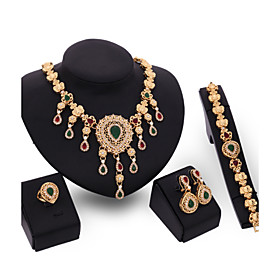Crystal Jewelry Set Gold Plated Jewelry Set With Crystal Necklace For Bridal..
