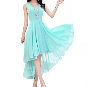 Women's Vintage Party Micro Elastic Sleeveless Midi Dress (Chiffon)