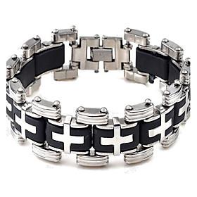 Men's Fashion Silica Gel and Titanium Steel Cross Shape Bracelet (1.6cm22.3c..