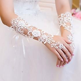 Elbow Length Fingerless Rhinestone Gloves Lace Wedding Gloves
