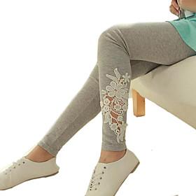 Women's Black/Gray Skinny Hollow Flower Lace Leggings