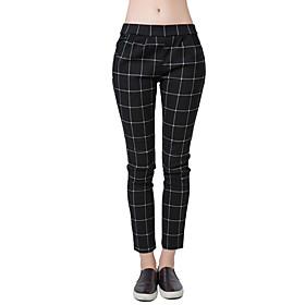 Image of Women Trousers Checks Plaid Print Elastic Waistband Slant Pockets Slim Fit Vintage Pants
