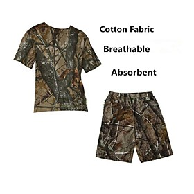 Image of Men Outdoor Camouflage Breathable Tshirt Outdoor Camo Hunting Fishing Camo Summer Suits(TshirtShort Pant)