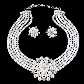 Women's Jewelry Set Pearl, Rhinestone, Silver Plated Flower Ladies, Luxury, European, Fashion, Birthstones, Bridal Include White For Wedding Party Masquerade E