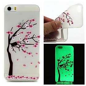 $Για Θήκη iPhone 5 Λάμπει στο σκοτάδι / Ημιδιαφανές / Με σχέδια tok Πίσω Κάλυμμα tok Λουλούδι Μαλακή TPU iPhone SE/5s/5