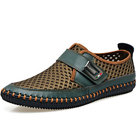 Men's Leather / Tulle Spring / Summer / Fall Comfort / Gladiator / Roller Skate Shoes Loafers  Slip-Ons Gray / Brown / Green