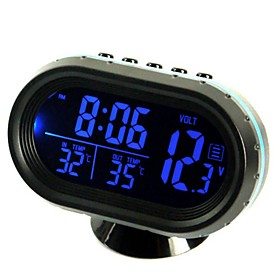 ZIQIAO Multi-Functional Car Electronic Clock/Thermometer/Voltmeter with Night Lights White Glass Screen (Random Colors)