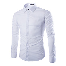 Men's Fashion Solid Business Covered Buttons Slim Long Sleeved Shirt