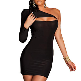 XiXiangYi Sexy One-shoulder Cotton and Spandex Mini Dress