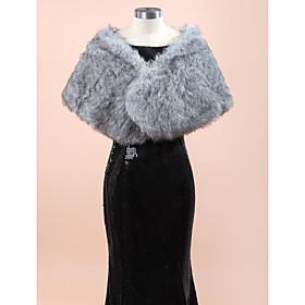 Wedding  Wraps Fur Wraps Shawls Sleeveless Faux Fur Gray Wedding Party/Evening Rhinestone Clasp