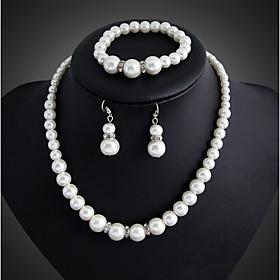 Niedlich \/ Party - Damen - Halskette \/ Ohrring \/ Armband (Versilbert \/ Kunst-Perlen)