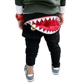 Boy's Fashion Casual Zipped Shark Teeth Haroun Pants