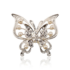 Women's Brooches Imitation Pearl Rhinestone Silver Plated Ladies Stylish Fashion Brooch Jewelry For Wedding Party Dailywear Daily Masquerade Engagement Party