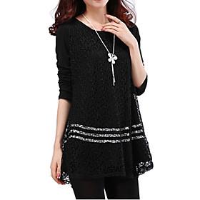 Women's Solid White/Black Blouse, Plus Sizes Round Neck Long Sleeve Lace Crochet