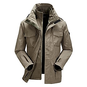 Image of Men Outdoor Soft Shell Fleece Jacket Waterproof Climbing Fishing Coat Clothing(2Pieces =Soft Shell JacketFleece Jacket)
