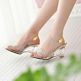 Women's Shoes Leatherette Spring / Summer / Fall Translucent Heel / Wedge Heel Crystal Silver / Golden / Wedge Heels