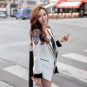 Blazer Femme,Mosaïque Printemps Manches Longues Col de Chemise Blanc Polyester Spandex Moyen