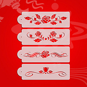 Rose Design2# Wedding Cake Stencil Set,Plastic Cake Side  Stencil Stencil,Fondant Cake Tools,Cake Supplies ST-3175 4794316