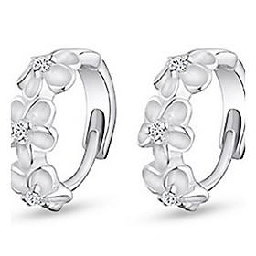 Women's Cubic Zirconia Hoop Earrings Earrings - Sterling Silver, Zircon, Cubic Zirconia Flower Work, Birthstones Silver For Daily