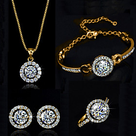 Women's Crystal Jewelry Set - Crystal Include Silver / Golden For Wedding Party Birthday / Rings / Earrings / Necklace / Bracelets  Bangles