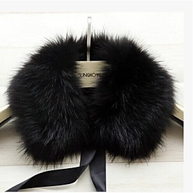 Fur Wraps / Fur Accessories / Faux Leather Collars Sleeveless Faux Fur Black / Brown / White / Gray Party/Evening / Casual Square Lace-up