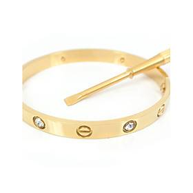 Classic 16CM Screw Titanium Steel Diamond Stone Inlay Bangle with the Same C..