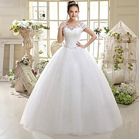 A-Line Scoop Neck Floor Length Lace Wedding Dress with Beading by Goodtimes
