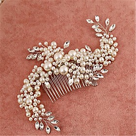 Women's / Flower Girl's Alloy / Imitation Pearl / Cubic Zirconia Headpiece-Wedding / Special Occasion Hair Combs 1 Piece