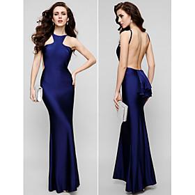 ts couture avondjurk - mooie achtertuin plus size / petite mantel / column juweel vloer-length charmeuse met 3027735