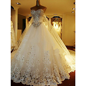 A-Line Sweetheart Cathedral Train Tulle Wedding Dress with Beading by Embroidered bridal