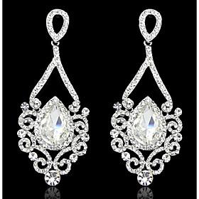 Lady's Multi-Stone Zircon Chandelier Drop Earrings for Wedding Party (Gold/Silver)