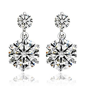 Women's Diamond Cubic Zirconia two stone Stud Earrings Sterling Silver Zircon Silver Earrings Ladies Jewelry Silver For Wedding Party Daily Casual Sports Masqu