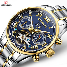 Carnival Men's Skeleton Watch Automatic Self Winding 30 M Hollow Engraving Stainless Steel Band Analog Digital Luxury White / Gold Gold / Blue
