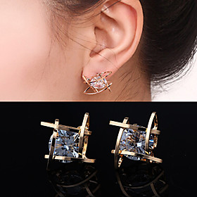 Women's Cubic Zirconia Stud Earrings - Zircon, Cubic Zirconia, Rhinestone Silver / Golden For Wedding Party Daily