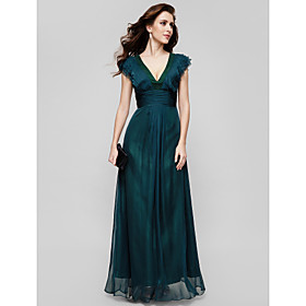 TS Couture Formal Evening / Military Ball Dress - Vintage Inspired / Elegant Plus Size / Petite A-line V-neck Floor-length Chiffon with Draping plus size,  plus size fashion plus size appare