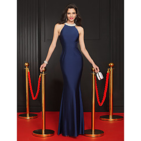 TS Couture Formal Evening Dress Trumpet / Mermaid Jewel Floor-length Jersey with Beading