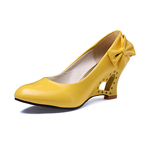 Women's Shoes Leatherette Spring / Summer Wedge Heel Black / Yellow / Red / Wedding / Party  Evening / Dress / Party  Evening