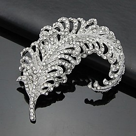 Women's Silver AAA Zircon Crystal Leaf Brooch  Pins for Wedding Party Jewelry