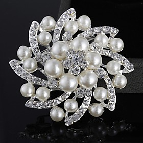 Alloy/Silver Plated/Imitation Pearl Brooch/Fashion all-match Flower Brooch/W..