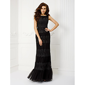 TS Couture Prom Formal Evening Military Ball Black Tie Gala Dress - Elegant Vintage Inspired Sheath / Column Scoop Floor-length Tulle with plus size,  plus size fashion plus size appare