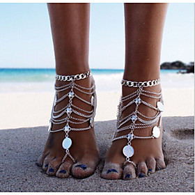 Layered Anklet Barefoot Sandals - Silver Personalized, Unique Design, European Silver For Christmas Gifts Daily Casual Women's