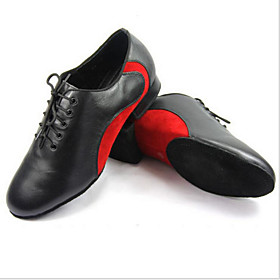 Customizable Men's Dance Shoes Leather Leather Modern Flats Chunky Heel Outdoor / Performance / Practice / Beginner / ProfessionalBlue /