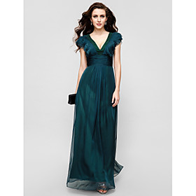 A-Line V-neck Floor Length Chiffon Formal Evening Military Ball Dress with Draping Ruffles Ruching by TS Couture plus size,  plus size fashion plus size appare