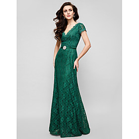 A-Line V-neck Floor Length Lace Formal Evening Military Ball Dress with Crystal Brooch by TS Couture
