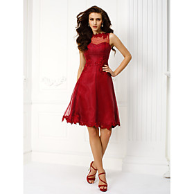 TS Couture Cocktail Party Prom Holiday Dress - Elegant Vintage Inspired A-line Jewel Knee-length Organza with Appliques Buttons plus size,  plus size fashion plus size appare