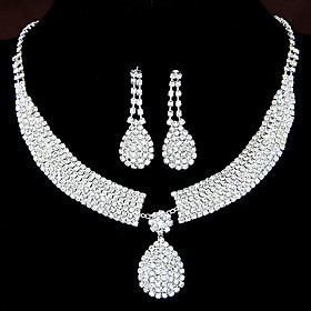 Women's Clear Synthetic Diamond Jewelry Set Rhinestone Drop, Teardrop Ladies, Luxury, Elegant, Bridal Include Drop Earrings Pendant Necklace For Wedding Party